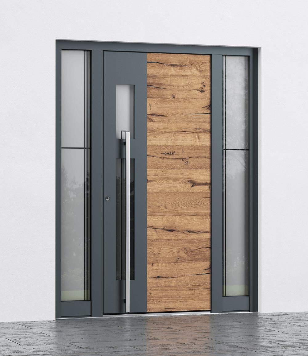 Alu vhodna vrata z lesnim dekorjem in stekli