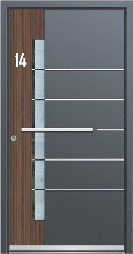 Hišna alu vrata, delno odeta v lesni dekor
