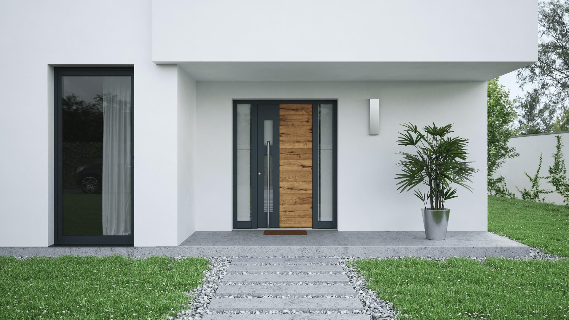 Vhod, ki ga krasijo alu vrata INOTHERM