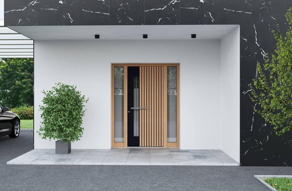 Moderna alu vhodna vrata v barvi macesna