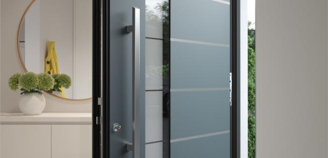 Srebrna alu vrata z dekorativnim steklom