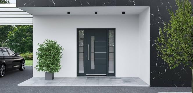 Vhodna vrata iz aluminija AT100P z dodatnimi stranskimi stekli
